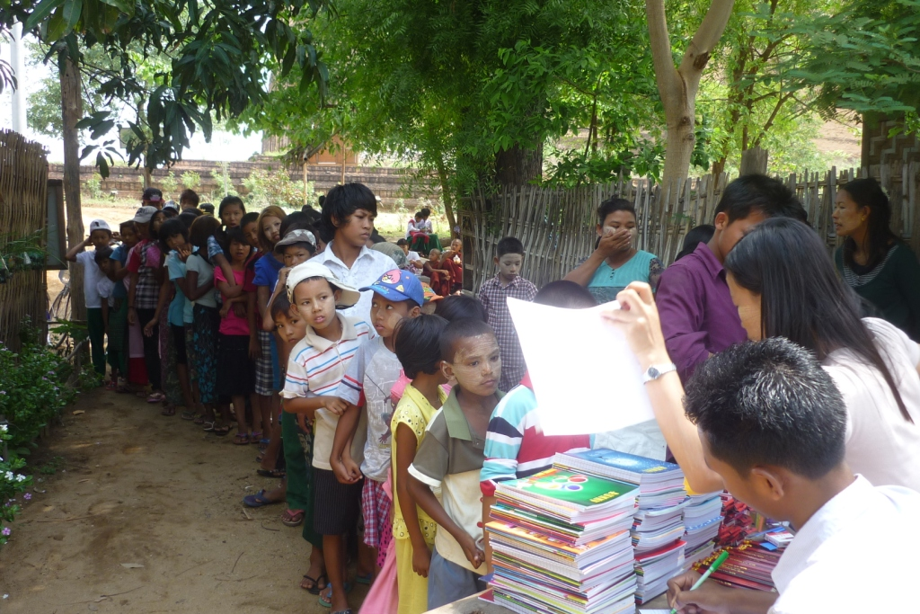 Distribution of educational materials to the children of Mingun