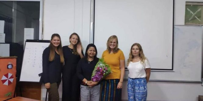Four students of the HTW Saarbrücken at the tourism project in Mandalay