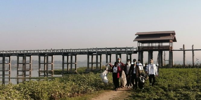 Tourism Assistant Project (TAP) takes part in Clean Mandalay Campaign at U-Bain Bridge