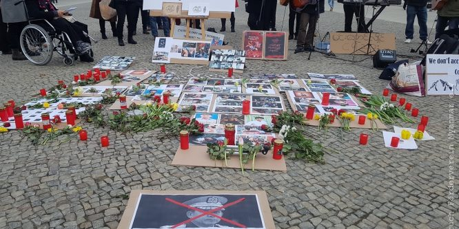 Protest action against the military coup In Berlin